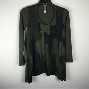 Go Couture Camo Olive Green Top M G798